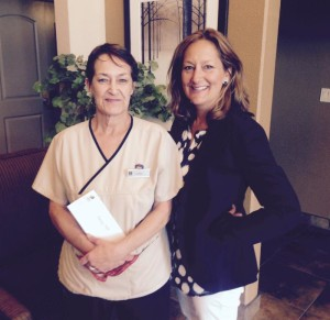 Shelley Page (left) from Kamloops, receives support from BCHF Board Member Trish Morelli.